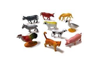 10 Assorted Mini Plastic Farm Animal Toys