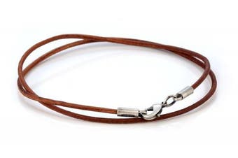 (40.0 centimeters) - Bico 2mm Brown Leather Necklace Long (CL8 Brown) Tribal Street Jewellery
