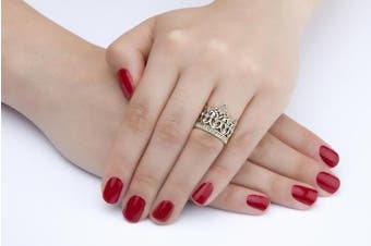 (J) - 18ct Gold Filled . Crystal Crown Ring. 17mm Wide. Very Eye Catching. A Must Have Ring For Any Fashion Lover.