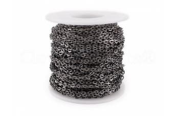 CleverDelights Rolo Chain Roll - 9.1m - Gunmetal (Dark Silver) Colour - 3x4mm Link - Bulk Spool