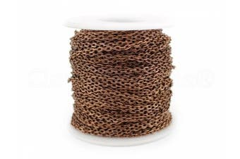 CleverDelights Rolo Chain Roll - 30m - Antique Copper Colour - 3x4mm Link - Bulk Oval Chain Spool