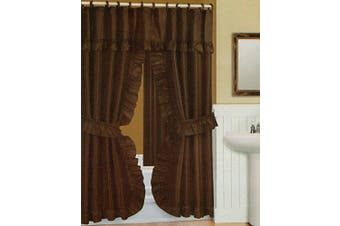 Double Swag Shower Curtain, Liner & Rings, Brown