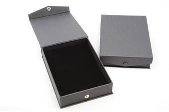Black Press Stud Closure Necklace Box - Black Pad Insert - Slits for Necklaces/Chains