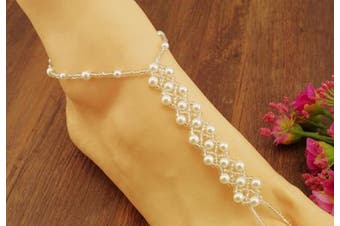 (as the picture show, as the picture show) - 2PCS(1 Pair) Pearl Barefoot Sandals Beach Wedding Foot Jewellery Anklet Ankle Bridal Bracele