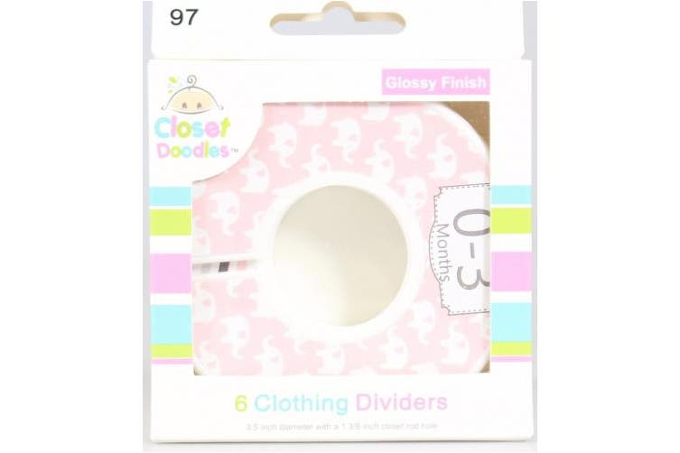 #97 Girl Elephant Baby Closet Dividers Clothes Organisers Set of 6