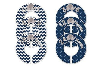 Closet Doodles C189 Elephant Navy Boy Baby Clothing Dividers Set of 6 Fits 1.25inch Rod