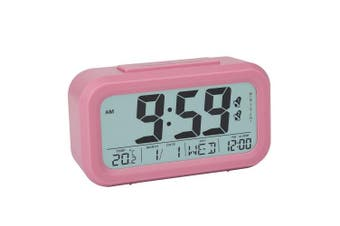 (Pink) - Peakeep Digital Alarm Clock with 2 Alarms for Weekdays, Manual Snooze and Light, Battery Operated Only (Pink)