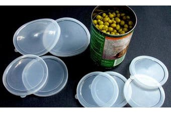 Set of 6 Can Covers Pet Food Plastic Lids Canned Goods Asst Sizes