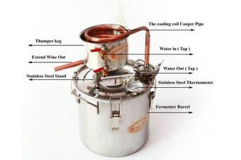 DIY 2 Gal 10 Litres Home Distiller Moonshine Alcohol Still Stainless Boiler Copper Thumper Keg