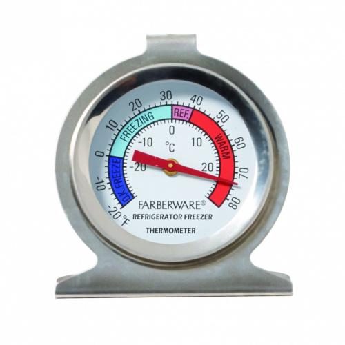 (Refrigerator) - Farberware 5141020 Protek Refrigerator Thermometer, Silver Style Name: Refrigerator This Protek Refrigerator Thermometer features an easy to read dial face and allows temperature readings from different points in the refrigerator. It can hang on a rack for easy viewing or sit on a shelf. Hand-wash with warm water and a mild detergent; rinse and dry immediately.