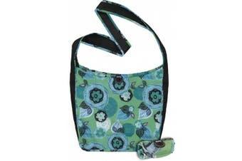 (36cm  x 34cm  Bag/10cm  x 5.1cm  Pouch, Aqua Dreams) - ChicoBag Sidekick Cross-Body Reusable Shopping Tote/Grocery Bag with Pouch