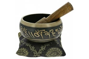 10cm Hand Painted Metal Tibetan Buddhist Singing Bowl Musical Instrument for Meditation with Stick and Cushion