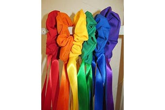 Set of 6 Fabric Wrist Scrunchie with 60cm Ribbon Streamers in primary colours with storage bag, Creative Movement Prop for dancing, group activities. Direct from USA manufacturer Bear Paw Creek