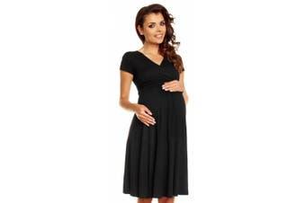 (16, Black) - Zeta Ville - Women's Maternity Wrap V-neck Summer Dress - Short Sleeves - 108c