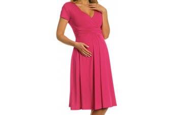 (UK 14, Fuchsia) - Zeta Ville - Women's Maternity Wrap V-neck Summer Dress - Short Sleeves - 108c