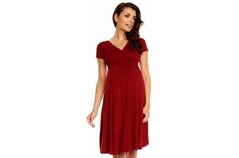 (UK 16, Crimson) - Zeta Ville - Women's Maternity Wrap V-neck Summer Dress - Short Sleeves - 108c