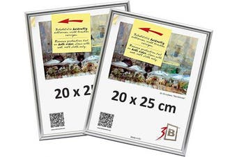 "(20 x 25 cm (ca. 8 x 10"") - 2 pcs., Silver) - Set of 2 pcs. PHOTO - Plastic frame - 20x25 cm (ca. 8x10"") - silver - plastic frame, photo frame"