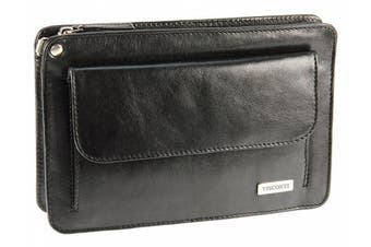 (Black) - Visconti Mens Leather Travel Organiser Wrist Bag With Mobile Phone Pouch - 02617