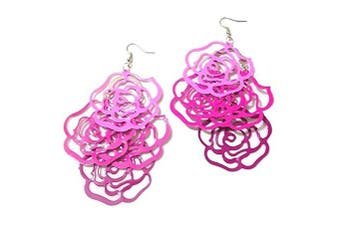 Womens Pink Rose Flower Silver Finish Dangle Hoop Earrings Party Gift Costume Jewellery