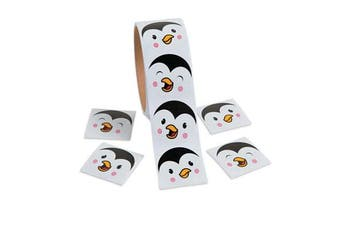 Roll of 100 Christmas Penguin Face Stickers for Kids | Childrens Sticker Rolls