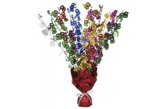 (Multi-coloured, Age 80) - Unique Party Glitz 80th Birthday Balloon Weight Centrepiece (Multi-Colour)