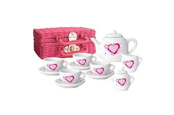 Childs Tea Set: Pink and White Porcelain Tea Set