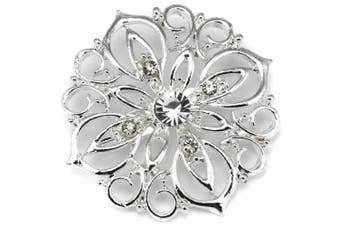 Elixir77UK Silver Colour Flower Gift Pin Brooch With Plain Crystals UK SELLER
