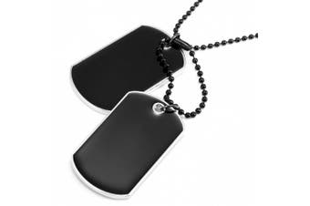 Powerful Army Style Double Dog Tag Pendant Mens Necklace, Biker Adjustable 68cm Black Chain (Black, Silver)
