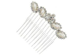 Classic Floral Leaf Austrian Crystal Bridal Hair Comb Clip