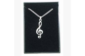 Fine Quality English Pewter Pendant Necklace Gift, Treble Clef Design