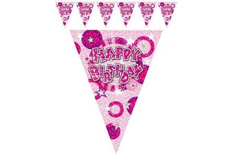 (1 Banner 12FT) - 3.7m Happy Birthday Banner Pink Girl Party
