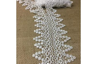 (White) - Lace Trim Grapes/Abundance Venise, 5.1cm Wide, 2 yards, Choose Colour. Multi-Use Garments Bridal DIY Sewing Slip Extender Crafts Veils Costumes Scrapbook, White