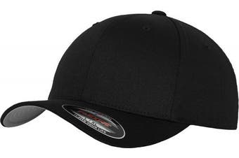 (L-XL, black - black) - Adult Flexfit Woolly Combed Cap