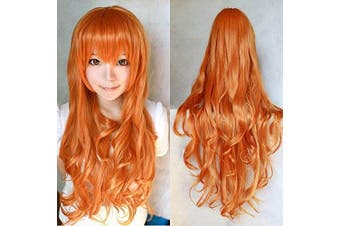"""(Orange) - 32"""" 80cm Vocaloid Long Big Wavy Lady Hair Heat Resistant Spiral Curly Cosplay Costume Wig Harajuku Rainbow Deviants Collection Sexy Lady Wigs (Orange)"""