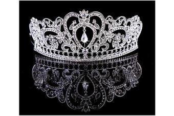 (Sliver_3) - Crystal Bridal Wedding Prom Tiara Rhinestone Crystal Crown,Silver_1,One Size