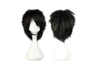 (Black) - COSPLAZA Cosplay Wig Short Rock Spiky Straight Dark Black Heat Resistant Synthetic Hair 30cm Anime Full Hair
