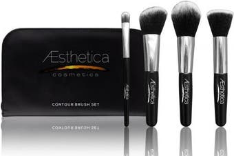 (4 Brushes w/Travel Pouch) - Aesthetica Cosmetics 4-Piece Premium Synthetic Contour and Highlight Makeup Brush Set for Powder, Foundation, Blending, Contouring and Highlighting Includes Carry Case- Vegan and Cruelty Free