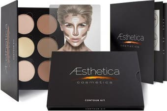 (6 Powders, 6 Powders) - Aesthetica Cosmetics Contour and Highlighting Powder Foundation Palette / Contouring Makeup Kit; Easy-to-Follow, Step-by-Step Instructions Included