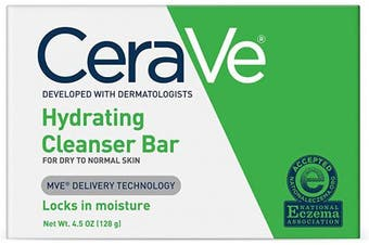 (Hydrating Cleansing Bar, 130ml) - CeraVe Hydrating Cleanser Bar | 130ml | Soap-Free Body and Face Cleanser Bar | Fragrance Free and Non-Irritating