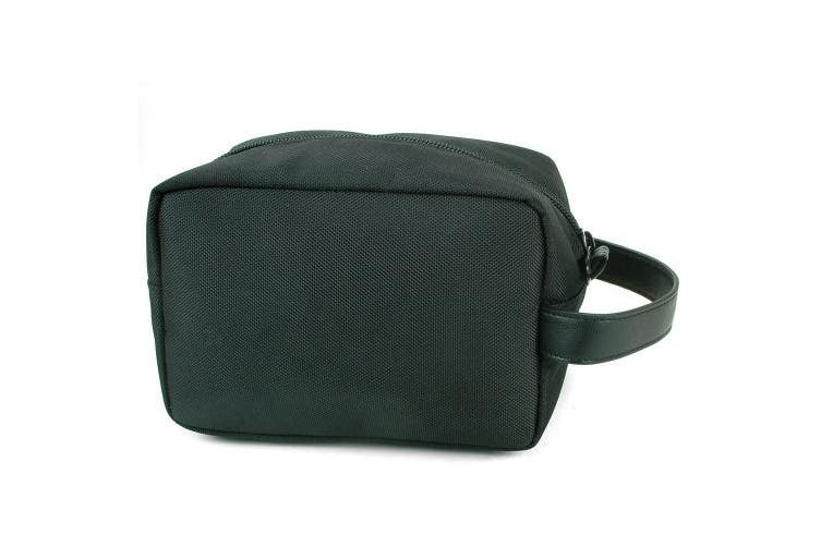 (One Size, Black) - Alpine Swiss Hudson Travel Toiletry Bag Shaving Dopp Kit Black