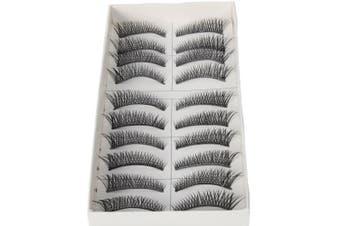 10 Pairs Black Long Thick Cross Style Reusable False Eyelashes Fake Eye Lash for Makeup Cosmetic