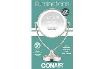 (Satin Nickel Finish) - Conair Natural Daylight Double-Sided Lighted Makeup Mirror - Lighted Vanity Makeup Mirror; 1x/10x magnification; Satin Nickel Finish