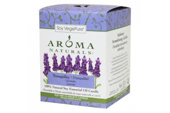 (Lavender) - Aroma Naturals Tranquilly Square Glass Soy Candle, Lavender, 200ml