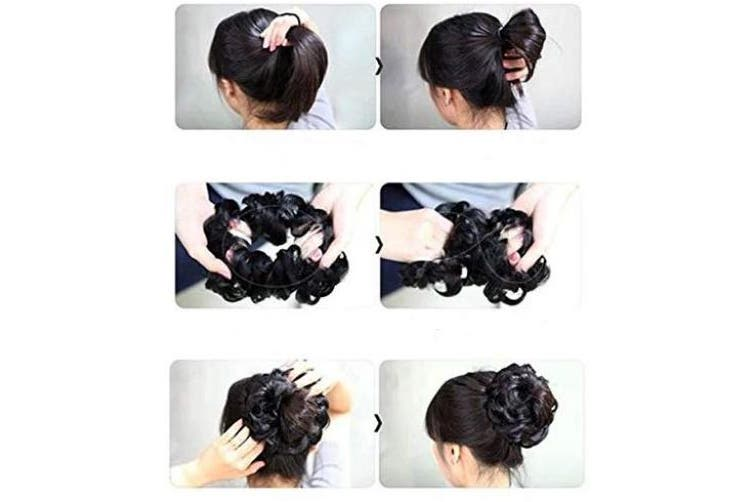 (brown mix 4T30 G15C) - PRETTYSHOP Scrunchy Scrunchie Bun Up Do Hairpiece Hair Ribbon Ponytail Extensions Wavy Curly or Messy Colour Variation (brown mix 4T30 G15C)