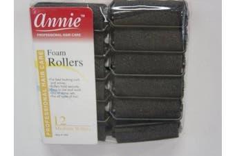 (Medium12pc) - Annie Foam Rollers (Black) Size: Medium12pc