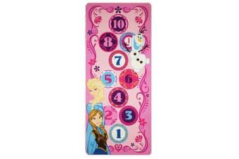 (Frozen - Hopscotch) - Gertmenian Disney Frozen Hopscotch Toys Rug Anna, Olaf, Elsa Bedding Play Mat Game Rugs w/2 Snow Flakes Toy, 70cm x 150cm