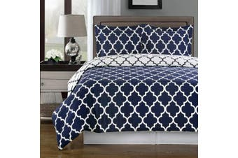 (Twin/Twin-XL, Navy) - Navy and White Meridian Twin / Twin-Extra-Long Coverlet 2pc set, Oversized Luxury Microfiber Printed Quilt by Royal Hotel