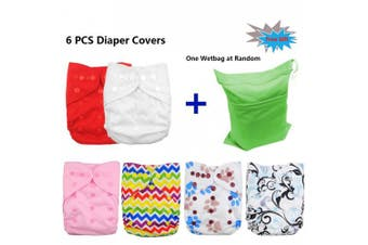 (girl color) - Babygoal Cloth Nappy Covers for Girls,Baby Adjustable Reusable Covers for Fitted Nappies and Prefolds, Baby Girl Clothes, 6pcs Covers+One Free Wet Bag 6DCF01