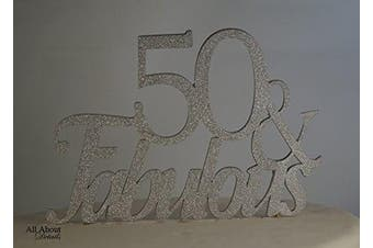 All About Details Silver 50- & -fabulous Cake Topper