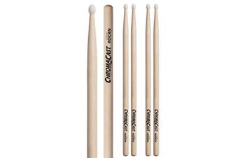 (ROCKN, 3 PAIRS) - ChromaCast CC-ROCKN-3 Rock USA Hickory Drumsticks with Nylon Tip, 3-Pair